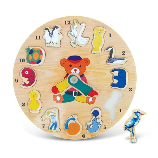 Puzzled Small Animals Wooden Clock Puzzle