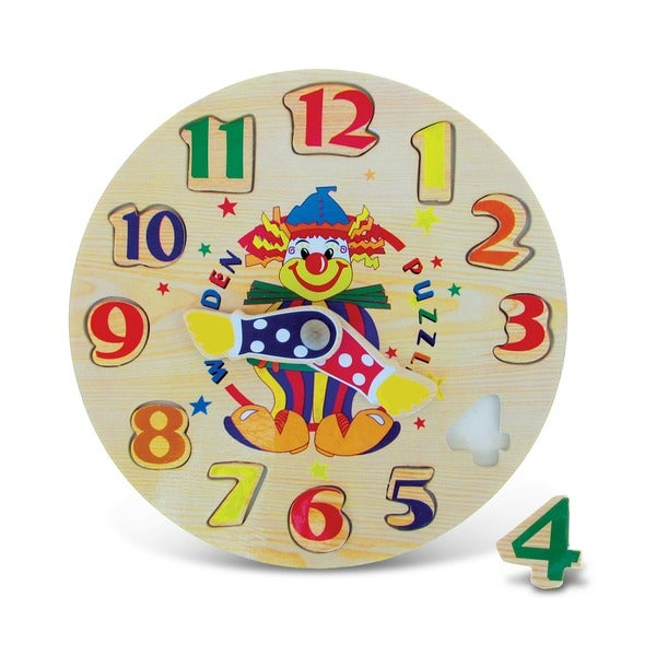 Puzzled Inc. Multicolored Wooden Clown Clock Puzzle