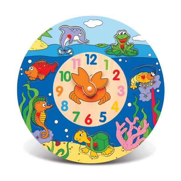 Puzzled Inc. Wood Ocean Life Clock