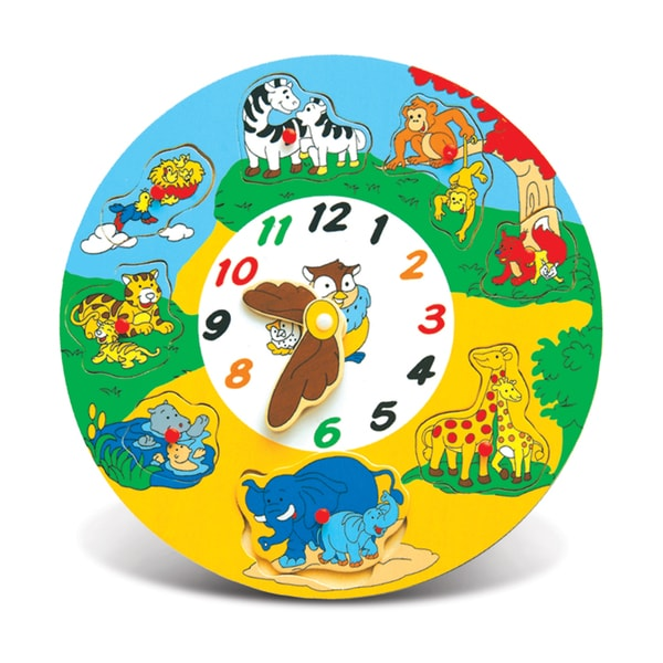 Puzzled Multicolored Wooden Animal Clock Puzzle
