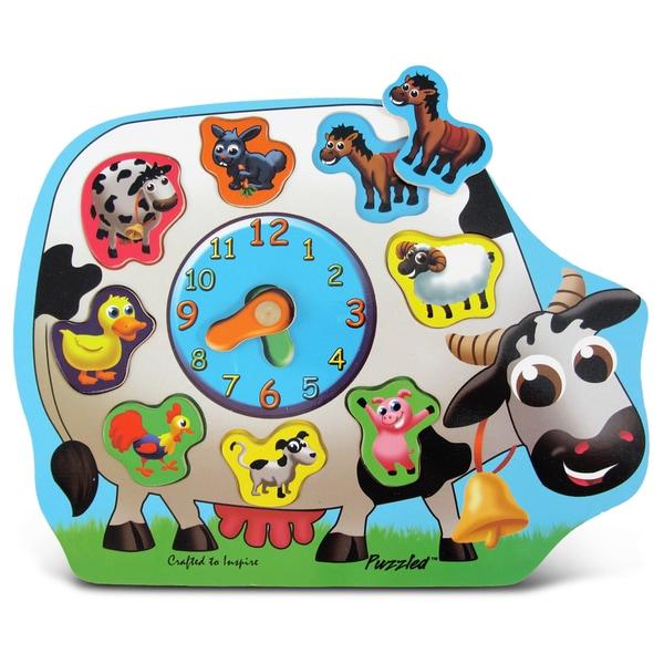Puzzled Wood Farm Animals Clock Puzzle