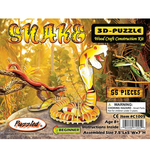 Puzzled Snake Wooden Illuminated 3D Puzzle