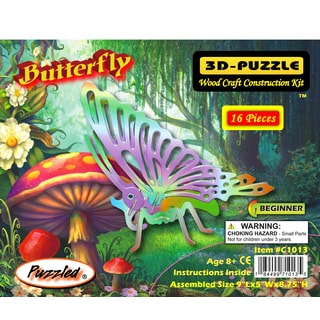 Puzzled Butterfly Wooden Illuminated 3D Puzzle