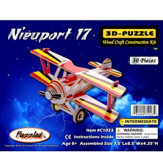 Puzzled Inc Pre-colored Wooden 30-piece Nieuport 17 Illuminated 3D Puzzle