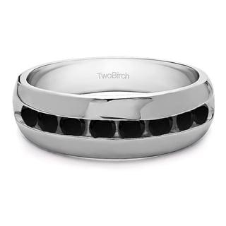 Men's Sterling Silver 0.52-carat Black Cubic Zirconia Wedding Fashion Ring