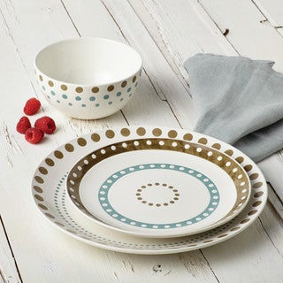 Rachael Ray(r) Cucina Circles and Dots Dinnerware 10-3/4-Inch Stoneware Dinner Plate, Agave Blue