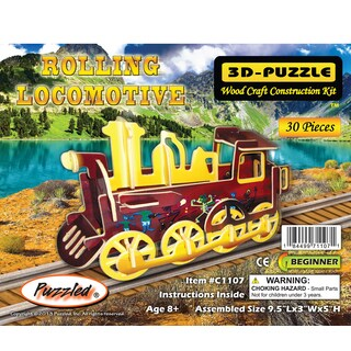 Puzzled Rolling Locomotive Wooden Illuminated 3D Puzzle