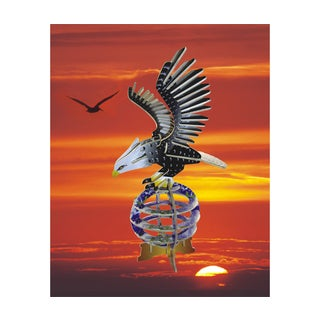 Puzzled Multicolored Wood Illuminated 3D Eagle Puzzle