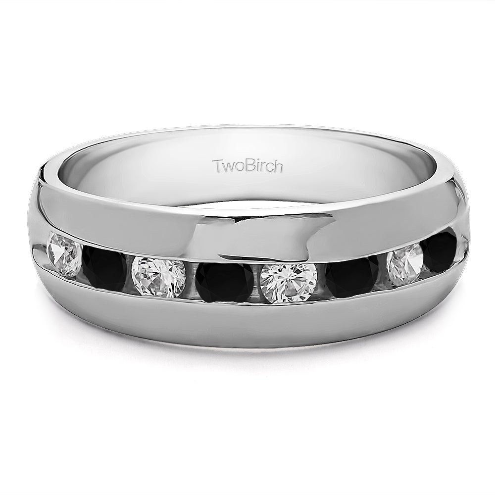 TwoBirch Men's Sterling Silver Fashion Wedding Ring with ...