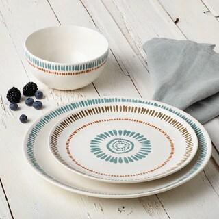 Rachael Ray Cucina Sun Daisy Dinnerware 10-3/4-Inch Stoneware Dinner Plate, Agave Blue