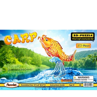 Puzzled Illuminated 3D Wooden Carp Puzzle