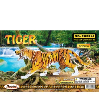 Puzzled 57-piece Multicolored Wood Illuminated 3D Tiger Puzzle