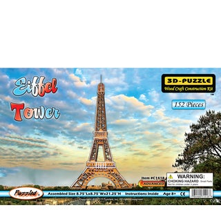 Puzzled Illuminated Wooden Eiffel Tower 3D Puzzles