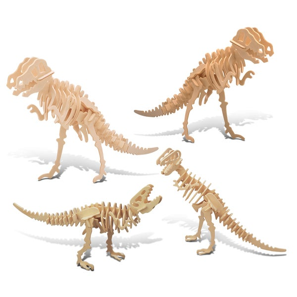Puzzled Tyrannosaurus and Big Tyrannosaurus 2-in-1 Wooden 3D Puzzle Construction Kit