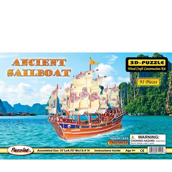 Puzzled Ancient Sailboat Illuminated 3D Puzzle