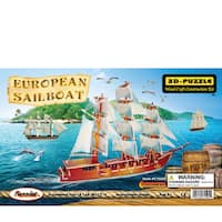 Puzzled European Sailboat Wooden Illuminated 3D Puzzle