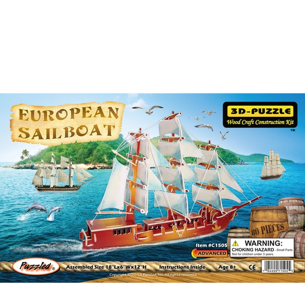 Puzzled European Sailboat Wooden Illuminated 3D Puzzle