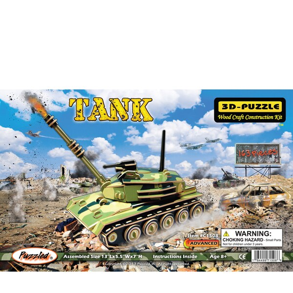 Puzzled Illuminated Wooden Tank 3D Puzzles