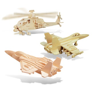 Puzzled F-15 Fighter Plane, Apache and F-18 Hornet Wooden 3D Puzzle Construction Kit