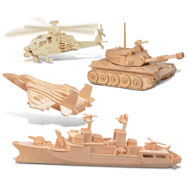 Puzzled F-15 Fighter Plane, Apache, Destroyer, and Tank Wooden 3D Puzzle Construction Kit