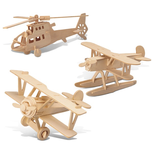 Puzzled Water Plane, Chopper, and Nieuport 17 Wooden 3D Puzzle Construction Kit