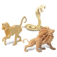 Puzzled Snake, Monkey, and Lion Wooden 3D Puzzle Construction Kit