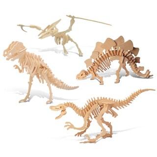 Puzzled Tyrannosaurus, Pteranodon, Velociraptor, Stegosaurus Wooden 3D Puzzle Construction Kit