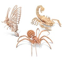 Puzzled Butterfly, Black Widow, and Scorpion Wooden 3D Puzzle Construction Kit