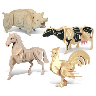 Puzzled Horse, Rooster, Cow, and Pig Wooden 3D Puzzle Construction Kit