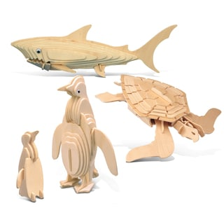 Puzzled Wood 'Penguin, Green Turtle and Shark' 3D Puzzle Construction Kit