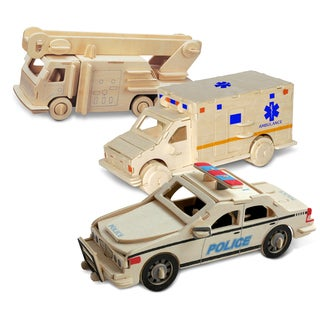 Puzzled Police Car, Fire Engine and Ambulance Wooden 3D Puzzle Construction Kit