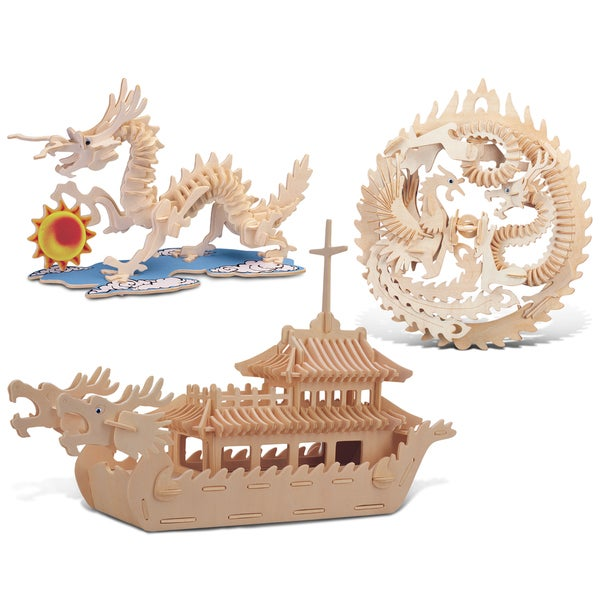 Puzzled Dragon, Lucky Dragon and Phoenix, and Dragon Boat Wooden 3D Puzzle Construction Kit