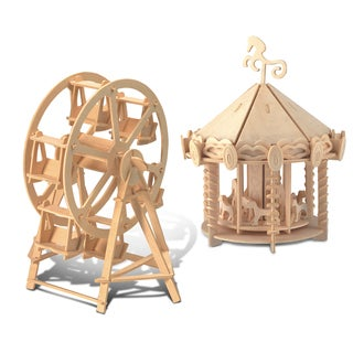 Puzzled Ferris Wheel and Carousel Wooden 3D Puzzle Construction Kit
