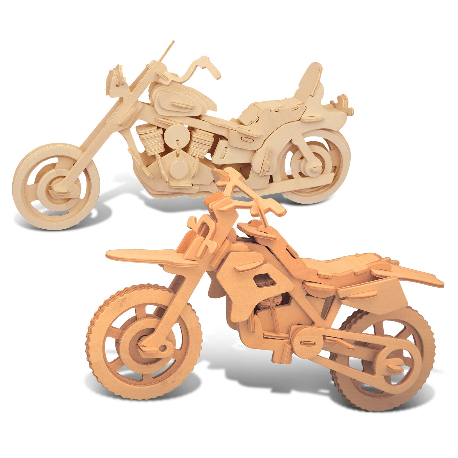 Puzzled Dirt Bike and Motorcycle Wooden 3D Puzzle Constru...