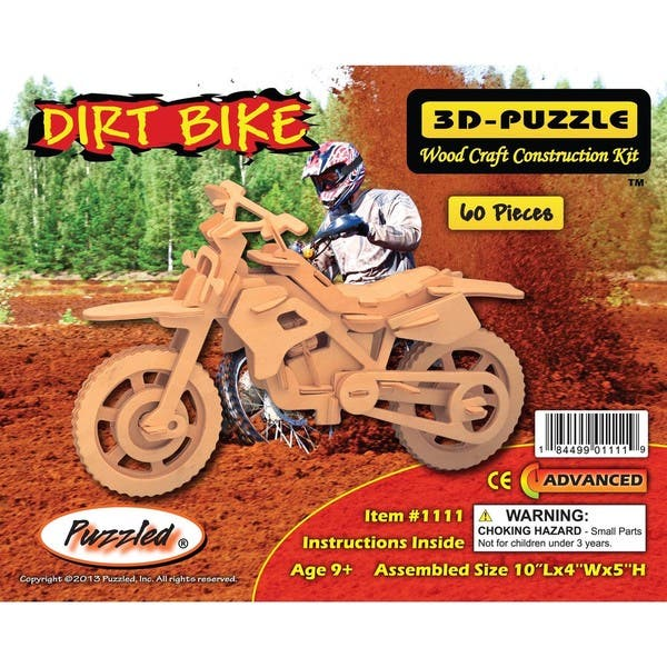 Shop Puzzled Dirt Bike and Motorcycle Wooden 3D Puzzle