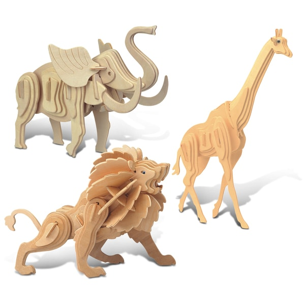 Puzzled Giraffe, Elephant, and Lion Wooden 3D Puzzle Construction Kit