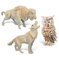 Puzzled Wolf, Owl and Buffalo Wooden 3D Puzzle Construction Kit