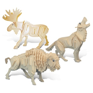 Puzzled Wolf, Moose, and Buffalo Wooden 3D Puzzle Construction Kit