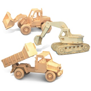 Puzzled Bulldozer, Excavator, and Dump Truck Wooden 3D Puzzle Construction Kit