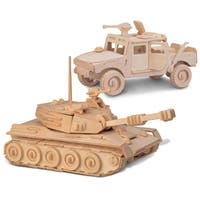 Puzzled H1 and Tank Wooden 3D Puzzle Construction Kit