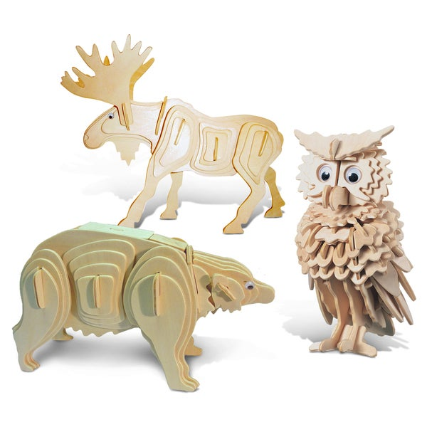Puzzled Owl, Moose, and Black Bear Wooden 3D Puzzle Construction Kit