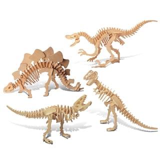 Puzzled Velociraptor, Stegosaurus, and Tyrannosaurus Wooden 3D Puzzle Construction Kit