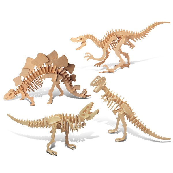 Puzzled Velociraptor, Stegosaurus, and Tyrannosaurus Wooden 3D Puzzle Construction Kit