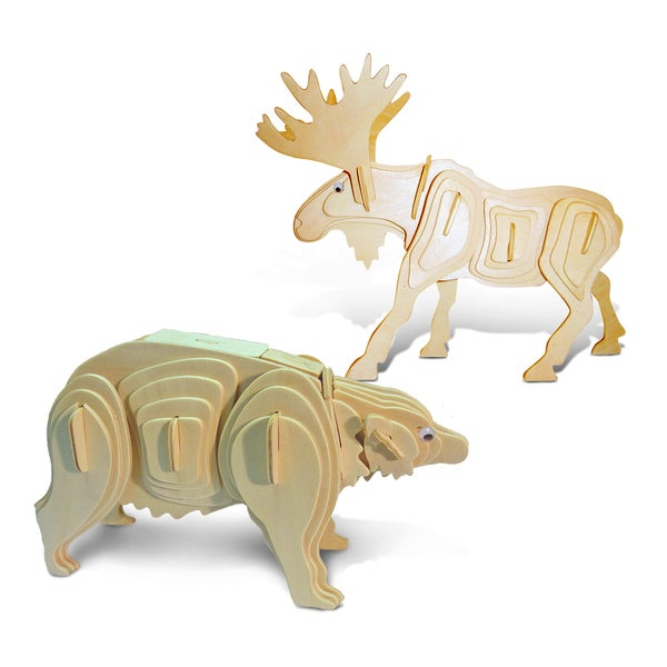 Puzzled Moose and Black Bear Wooden 3D Puzzle Construction Kit