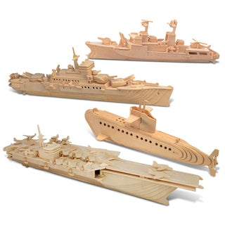 Puzzled Submarine, Destroyer, Battleship, and Aircraft Carrier Wooden 3D Puzzle Construction Kit