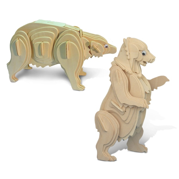 Puzzled Grizzly Bear and Black Bear Wooden 3D Puzzle Construction Kit