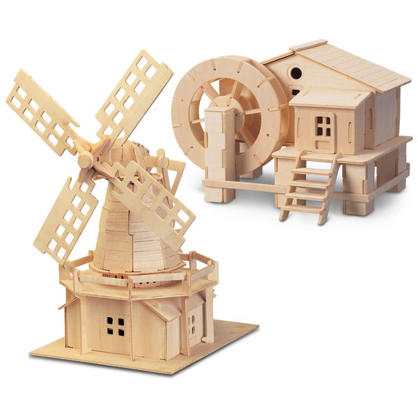 Puzzled Inc. Water Mill and Windmill Wooden 3D Construction Kit