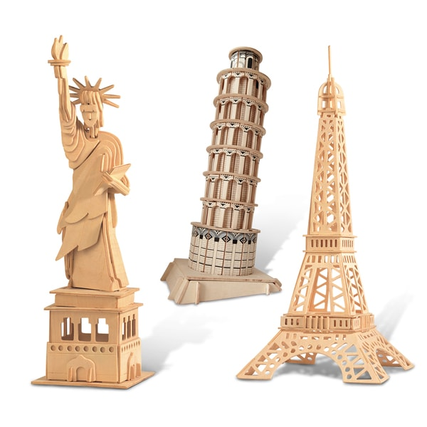 Puzzled The Statue Of Liberty, Eiffel Tower, and Leaning Tower of Pisa Wooden 3D Puzzle Construction Kit