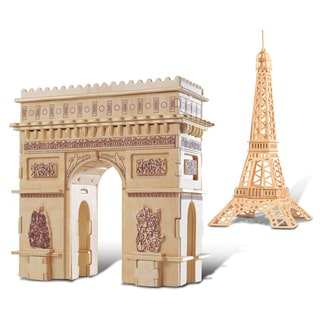 Puzzled Eiffel Tower and Arc de Triomphe Wooden 3D Puzzle Construction Kit
