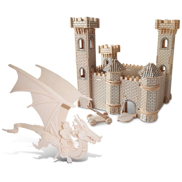 Puzzled Inc. 3-millimeter Natural Wood Flying Dragon and Castle Wooden 3D Puzzle Construction Kit